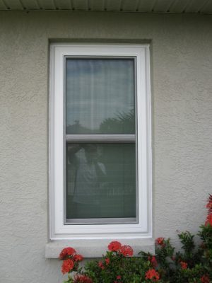 Exterior view of single-hung window with flowers under the bottom sash