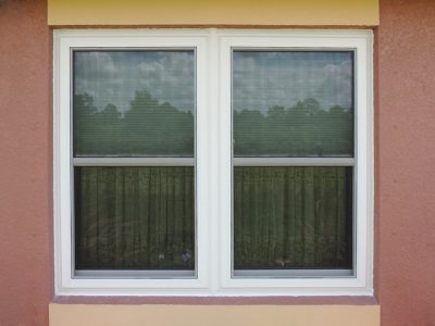 Exterior view of double-hung windows